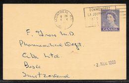 Canada - 4c Postal Stationery Card - Montreal To Basle Switzerland 1960 - 1953-.... Reign Of Elizabeth II