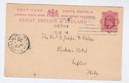 1909 GB Postal STATIONERY CARD To ITALY London ST Stephen To Napoli Stamps Evii E7 Cover - Stamped Stationery, Airletters & Aerogrammes