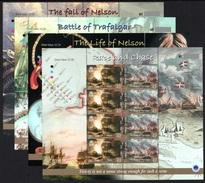 ISLE OF MAN 2005 Battle Of Trafalgar: Set Of 4 Complete Sheets UM/MNH - Man (Eiland)