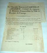 Manifesto Regno Piemonte Carouge Corso Valutare - Cours Des Monnoies 1814 - Vecchi Documenti