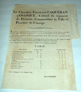Manifesto Regno Piemonte Carouge Corso Valutare - Cours Des Monnoies 1814 - Documentos Antiguos