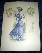 Stampa Litografia D' Epoca Originale - Moda Abiti Donna B17 - 1900 Ca - Estampes & Gravures