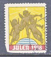 DENMARK    1918  Fault  (o)   JULEN   SEAL - Used Stamps