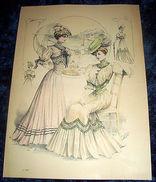 Stampa Litografia D' Epoca Originale - Moda Abiti Donna  B99 - 1900 Ca - Stampe & Incisioni