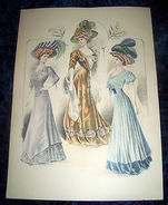 Stampa Litografia D' Epoca Originale - Moda Abiti Donna B27 - 1900 Ca - Stampe & Incisioni