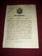 Regno Sardegna Torino Manifesto Università Genova Tasse Annuali Protomedicato - Old Paper