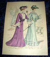 Stampa Litografia D' Epoca Originale - Moda Abiti Donna  B50 - 1900 Ca - Stampe & Incisioni