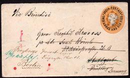 "British India To Germany Resent Postal Stationery ""Nilgiri"" Cancel 1893 - India (...-1947)"