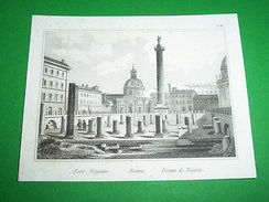 Stampa Incisione - Roma : Foro Traiano - 1850 Ca **GB - Stampe & Incisioni