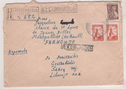 URSS 1960 - LETTRE RECOMMANDEE DE GRISKABUDIS ( LITUANIE ) POUR MONTPELLIER FRANCE - AFFRANCHISSEMENT A VOIR - 1923-1991 URSS
