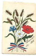 CARTE PEINTE A LA MAIN EPIS DE BLE BLEUET COQUELICOT 1915 CPA 2 SCANS - Guerre 1914-18