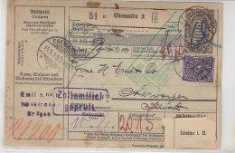 Paketkarte Mit Ua. 254 (7) Aus Chemnitz 15.5.23 In Die Schweiz - Germany