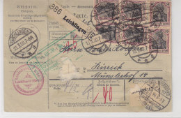 Paketkarte Mit 91 II (16) Aus Leichlingen 13.3.20 Nach Zürich/Schweiz - Allemagne