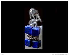 Superbes Boucles D'oreille Géométriqueqlapis Afghan / Afghani Lapis Lazuli And Iranian Gold Platted Silver Bead Earrings - Boucles D'oreilles