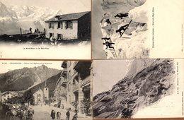 Lot De 4 CPA Chamonix-Mont-Blanc, Plan Praz, Passage De Crevasse, Mauvais Pas & Pl. De L'église & Brevent - Chamonix-Mont-Blanc