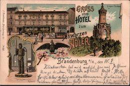 ! Alte Lithokarte Gruss Vom Hotel Zum Schwarzen Adler, Brandenburg A.d. Havel, 1899 - Brandenburg