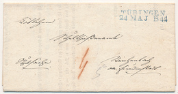 TÜBINGEN -  1844  ,  Brief Mit Inhalt Nach Reichenbach - ...-1849 Vorphilatelie