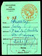 Fiscal, Fiscaux -Carte Impôt Sur Les Vélocipèdes 1951 - Fiscale Zegels