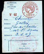 Fiscal, Fiscaux - Carte Impôt Sur Les Vélocipèdes 1949 - Fiscale Zegels