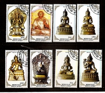 MONGOLIA 1988 BUDDHIST Sculpture ,figures STAMPS - USED COMPLETE SET OF 8 FULL STAMP SET CTO USED - Buddhism