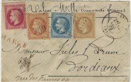 1870- DEVANT De Lettre CHARGE V D 1050 F. De BAYONNE ( Pyr. Atl. ) Cad T17 Affr. 4 Couleurs  N°28,29,31 Et 32 Oblit. G C - 1849-1876: Periodo Classico