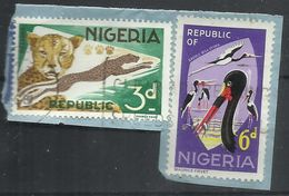 NIGERIA 1965 STORK BIRD CICOGNA UCCELLO OISEAUX CIGOGNES 6p + AURICE FIEVET LEOPARDS LEOPARD LEOPARDO LEOPARDI 3p USED - Nigeria (1961-...)