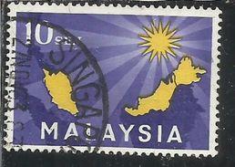 MALAYSIA MALESIA 1963 MAP AND 14 POINT STAR SEN 10s USATO USED OBLITERE' - Malesia (1964-...)