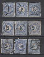 Suisse _ Timbres Taxe Chiffre Bleu _ 1878 Série N°1/ 9 - Oblitérés