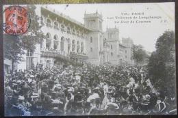 Paris N°718 - Tribunes Longchamps Un Jour De Courses - Très Animée - Timbre YT N°135 - Cachet 1908 - France