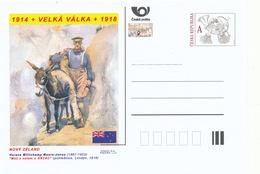 """Tschech. Rep. / Ganzsachen (Pre2014/29) WWI - Neuseeland: Horace Moore-Jones """"Ein Mann Mit Einem Esel Bei ANZAC"""" - 1. Weltkrieg"""