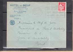 """Lettre De CHATEAUNEUF-sur-CHER Le 12 II 1936 Entete Pub """" HOTEL Du BOEUF Cafe Restaurant """"  Pour PARIS -AUSTERLITZ - Advertising"""