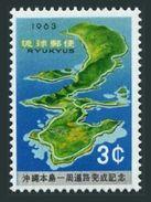 RyuKyu 109,MNH.Michel 137. Round Road On Okinawa,1963.Map. - Geography