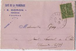 CARTE LETTRE 1917 FOURAS EN TETE CAFE DE LA PROMENADE - 1877-1920: Semi Modern Period