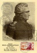 Nouvelle Calédonie Carte Postale Maximum Centenaire Presence France Amiral Bruni D'Entrecasteaux 1953 - Maximum Cards