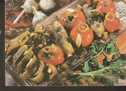 K2. Russia USSR Soviet Postcard Marinated Pickled Tomatoes With Eggplant Recipe In Russian At The Back Side Cooking Food - Recipes (cooking)