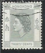 HONG KONG 1954 QUEEN ELIZABETH II REGINA ELISABETTA CENT. 30c USATO USED OBLITERE' - Usati