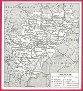 Carte Du Département De Charente  Larousse 1948 - Vieux Papiers