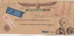 Belgique Lettre Recommandée EMA + Timbres Entête Verellen ANVERS 20/4/1934 Régie Tabacs Maroc Casablanca - Belgium