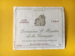 5831 - Domaine St.Martin  De La Garrigue 1994  Vin De Pays Des Côteaux De Bessilles - Languedoc-Roussillon