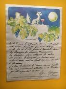 5841 -  Contre-étiquette Du Château Vignelaure 1986 Chat Dans Les Vignes Au Clair De Lune Dessiné Par Wiaz  Voir Descri. - Art