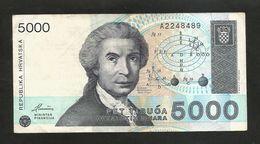 CROATIA - NATIONAL BANK -  5000 DINARA (1992) - - Croazia