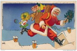 Jolie Carte Fantaisie Avec Paillettes Père Noël Avec Hotte Poupée Ours En Peluche Signée Roby - IDA - Noël