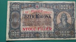 Ezer Korona 1000, B83, 1923, 8 Filler *** - Ungarn