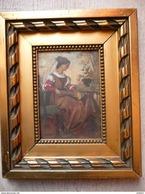R. Clair, 1877 - Portrait De Musicienne Néorenaissance Huile Sur Panneau - Olii