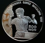 """NORTH KOREA 500 WON 1990 SILVER PROOF """"Olympic Games 1992""""  Free Shipping Via Registered Air Mail - Korea, North"""