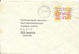 Sweden Cover With ATM Label Sent To Germany Stockholm Klara 13-10-1991 - Briefe U. Dokumente