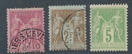BR-19: FRANCE: Lot Avec N°104-105-106*   1er Choix - 1898-1900 Sage (Type III)