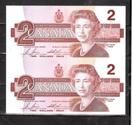 CANADA 1986 PAIR OF $2 CRISPY; NO FOLDS, NO PIN HOLES, CUT FROM FULL SHEET - Kanada