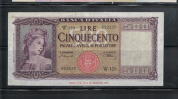 ITALIA 1947 500 LIRE CIRCULATED, NO PIN HOLES, HAS FOLDS - [ 1] …-1946 : Kingdom
