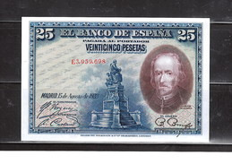 SPAIN 1928 25 Ptas , UNCIRCULATED, NO PIN HOLES, NO FOLDS. - 1-2-5-25 Pesetas